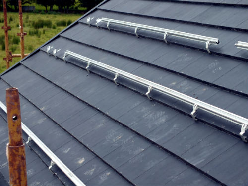 Solar panel mounting rails on roof