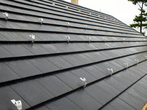 Solar panel mounting brackets on roof